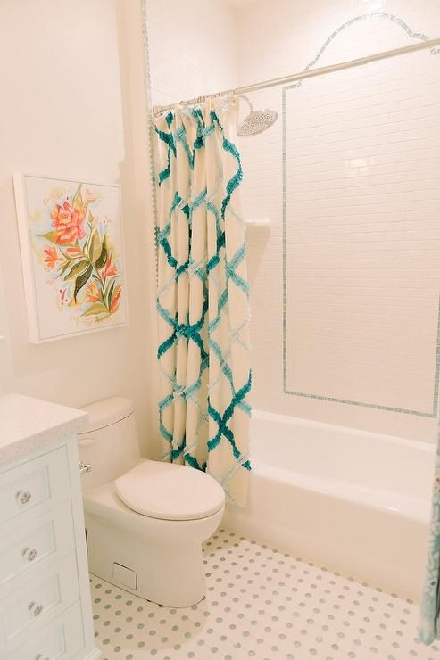 Fantastic Girlu0027s Bathroom Features Pink And Green Art Over Toilet Atop A  White Grid Tiled Floor