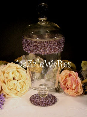 EGGPLANT PURPLE- Beaded Apothecary Jars in assorted styles and over 36 colors! Use for Holiday Decorating by changing the inside decor or Everyday use! http://www.dazzlewares.com/BeadedCandleHoldersJars.php