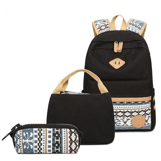 Abshoo Fashion Schoolbag Backpack Canvas School Bags For Teenage Girls Cute  Printing Backpack 3 Pcs Rucksacks For Girl Women Bag ea3062b8560da