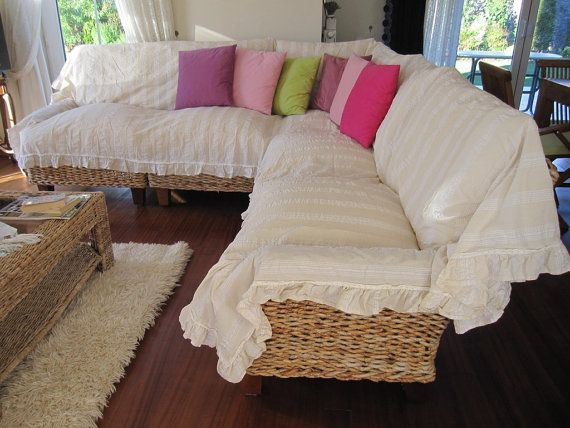 Sectional couch cover - L shaped sofa throw covers -ruffled corner ...