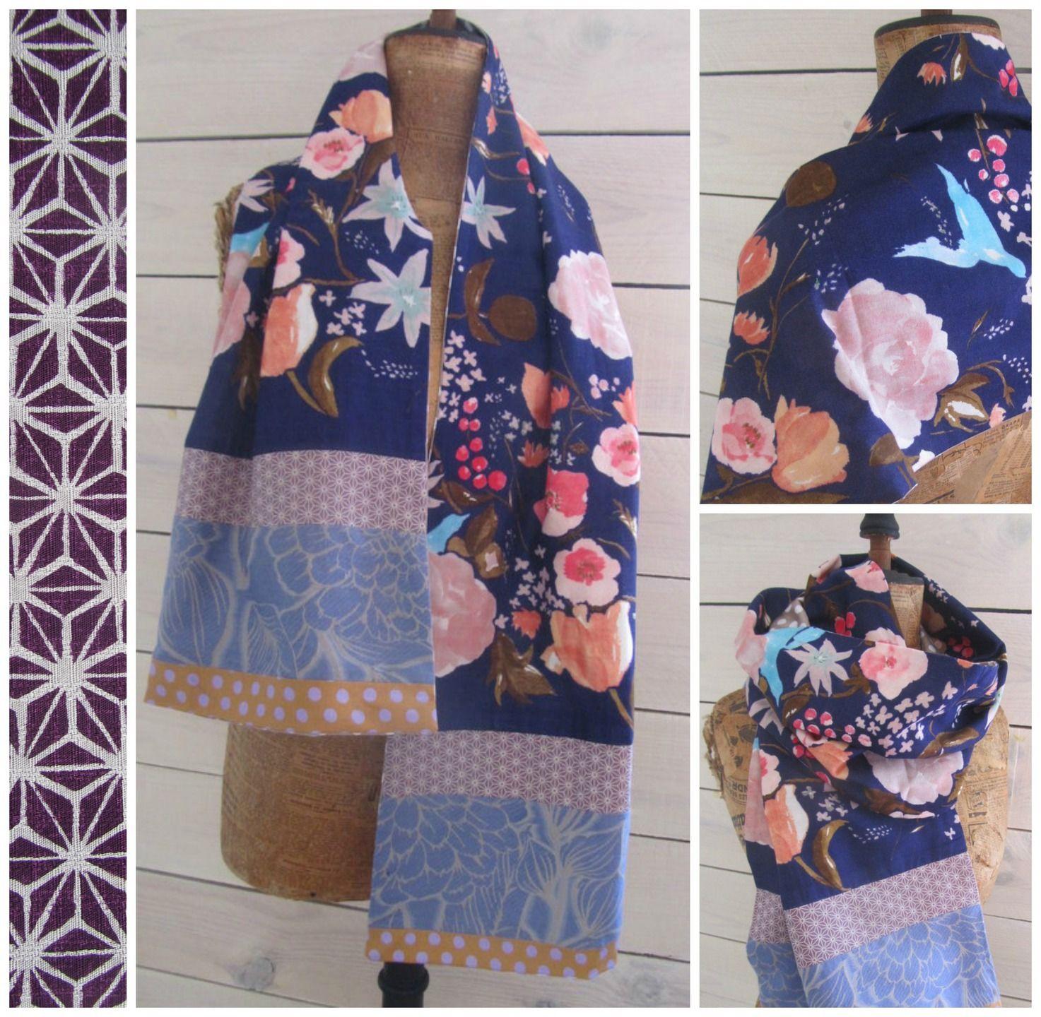 texture nette prix le plus bas San Francisco Création unique, ce long et large foulard souple (160 cm) en ...