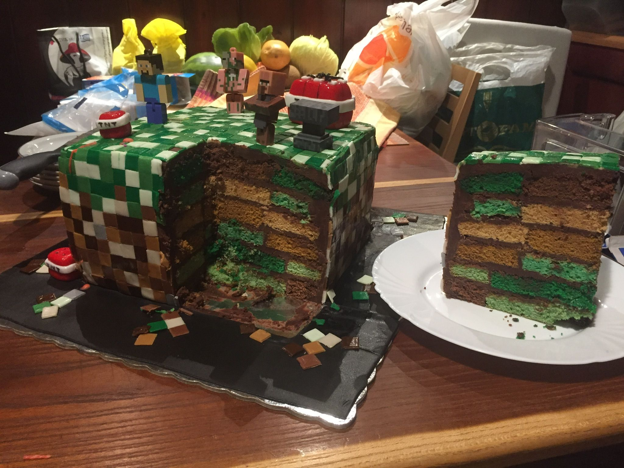 Pin By Dimitra Kai On Minecraft Birthday Cake Pinterest