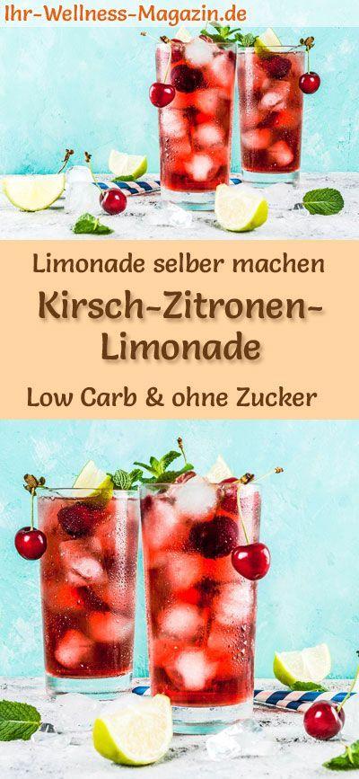 Kirsch-Zitronen-Limonade selber machen - Low Carb & ohne Zucker #homemadelemonaderecipes