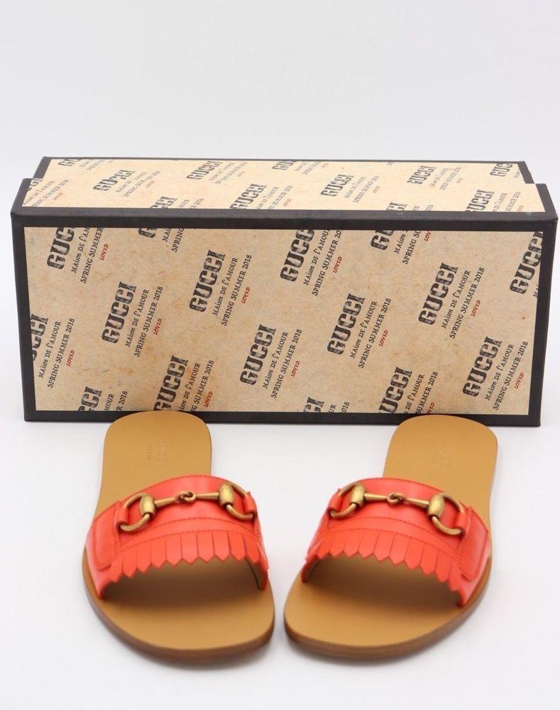 d13bc0635 NIB Gucci Fringe Orange Leather Horsebit Slide Sandals 7.5 37.5 New  650   Gucci  Slides