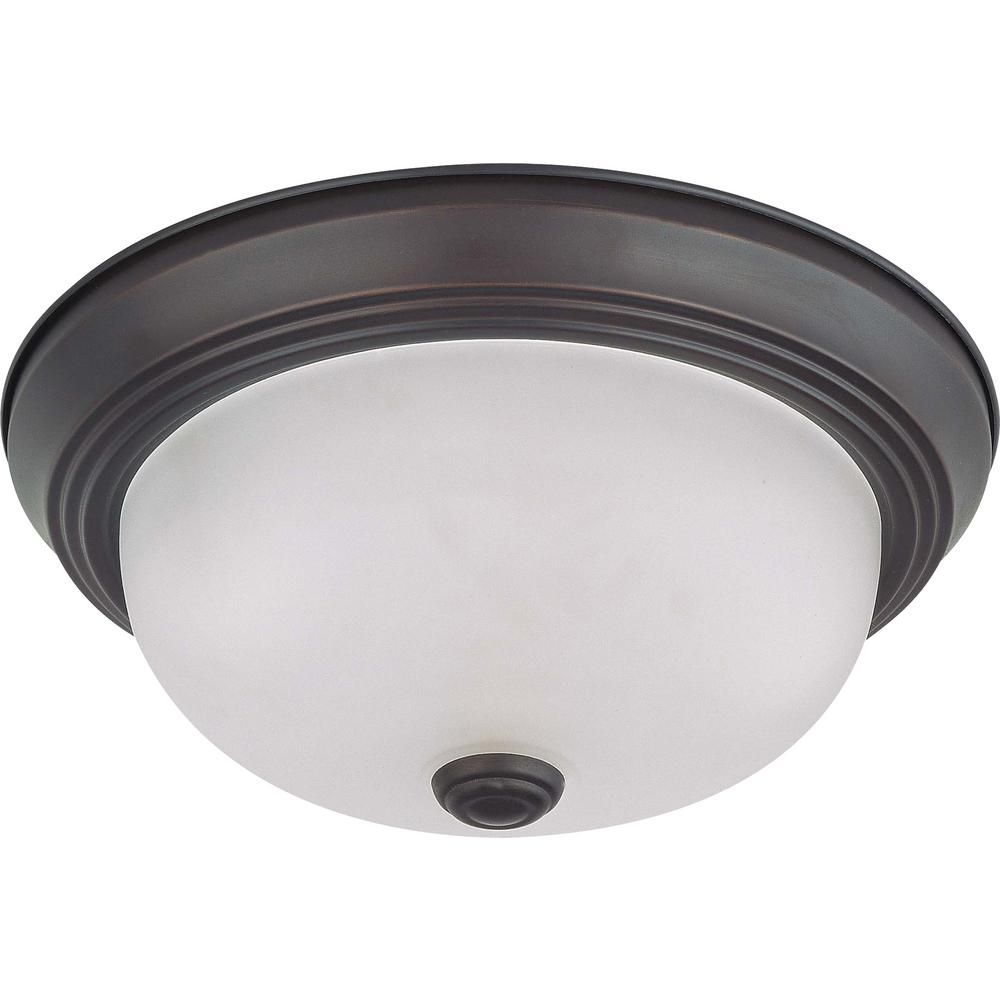 Green Matters 2 Light Ceiling Mahogany Bronze Fluorescent Flush Mount Flush Mount Lighting Glass Ceiling Lights Ceiling Light Fixtures