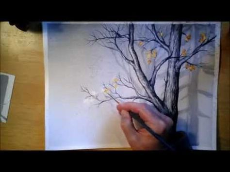 Foggy Trees In Watercolor Arbres En Aquarelle Peinture Decorative