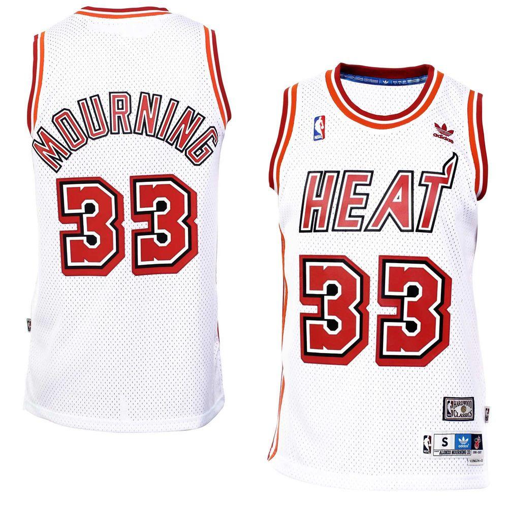 4ddb489c2f6 Mens Miami Heat Alonzo Mourning adidas White Hardwood Classics Swingman  Jersey
