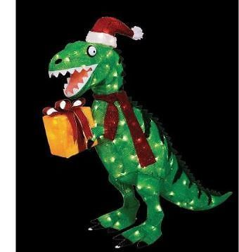 Outdoor Christmas 42 Dinosaur Animated Lighted With Present Ebay