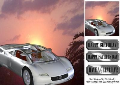 Silver sports car in the sunset 8x8 on Craftsuprint - Add To Basket!
