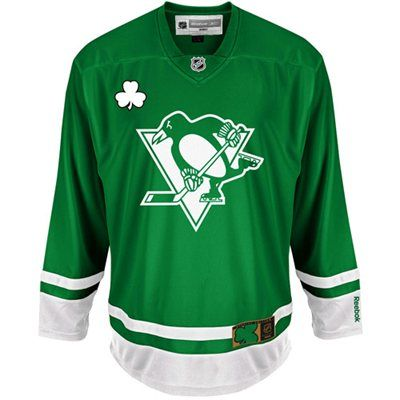 on sale 71458 0579d Reebok Pittsburgh Penguins St. Patrick's Day Replica Jersey ...