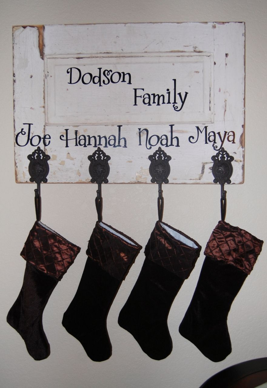 Personalized Stocking Hanger Made From An Old Door Vinyl