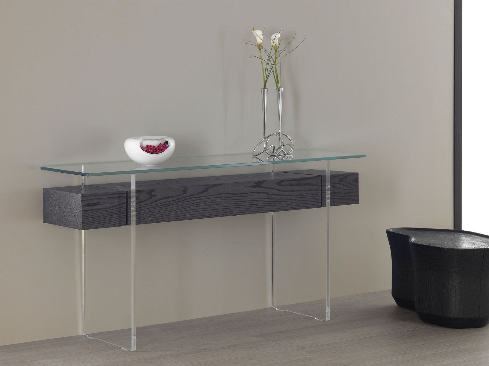 Likeness Of Between Wood And Glass Long Console Tables Table