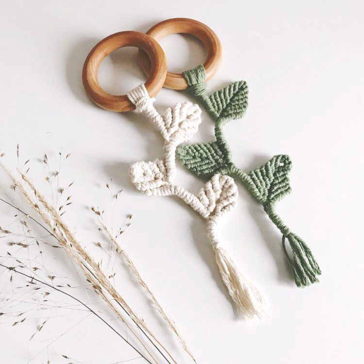Wooden Macramé Teether Vine Leaf | Natural Teething Ring Sensory Toy