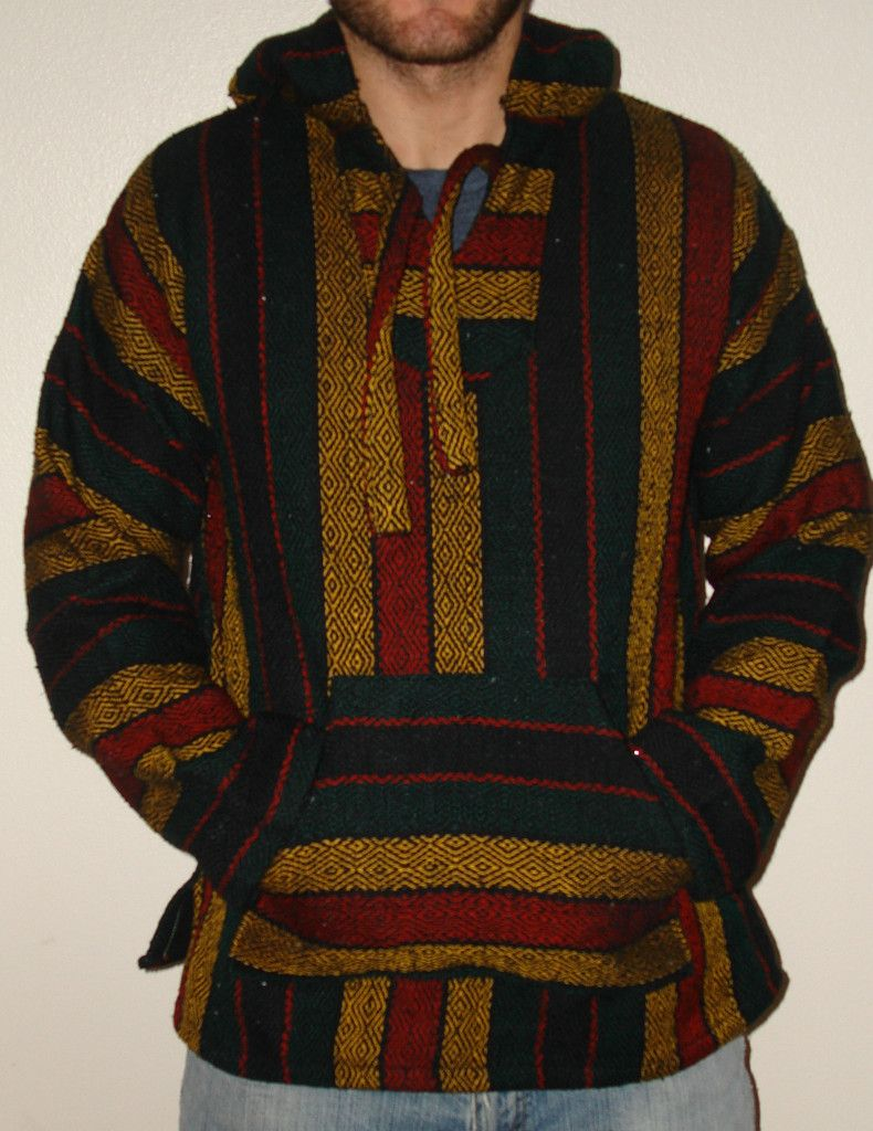 Baja Hoodie- Red/Green/Yellow Mexican Sweater | Del Sol Apparel ...
