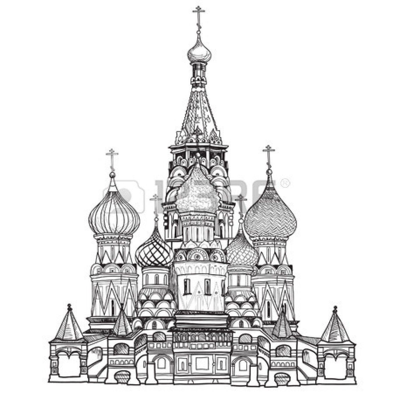 catedral de san basilio la plaza roja mosc rusia ilustraci n vectorial aislados en fondo. Black Bedroom Furniture Sets. Home Design Ideas