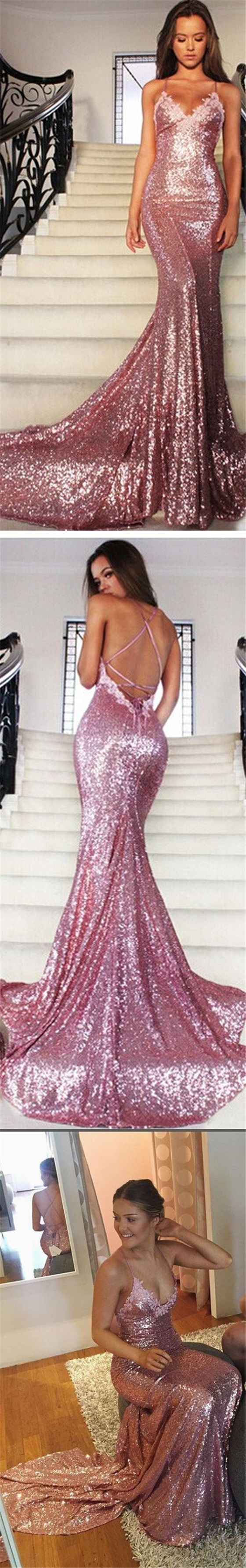 Sexy pink sequin mermaid prom dresses spaghetti backless prom
