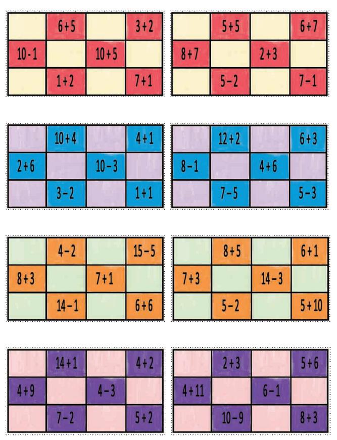 Cartones Con Sumas Y Restas Bingo Para Imprimir Juegos De Resta Bingo