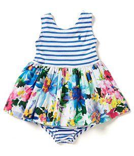 5f1852297a0d Ralph Lauren Childrenswear Baby Girls 3-24 Months Stripe Floral  Knit-to-Woven Dress