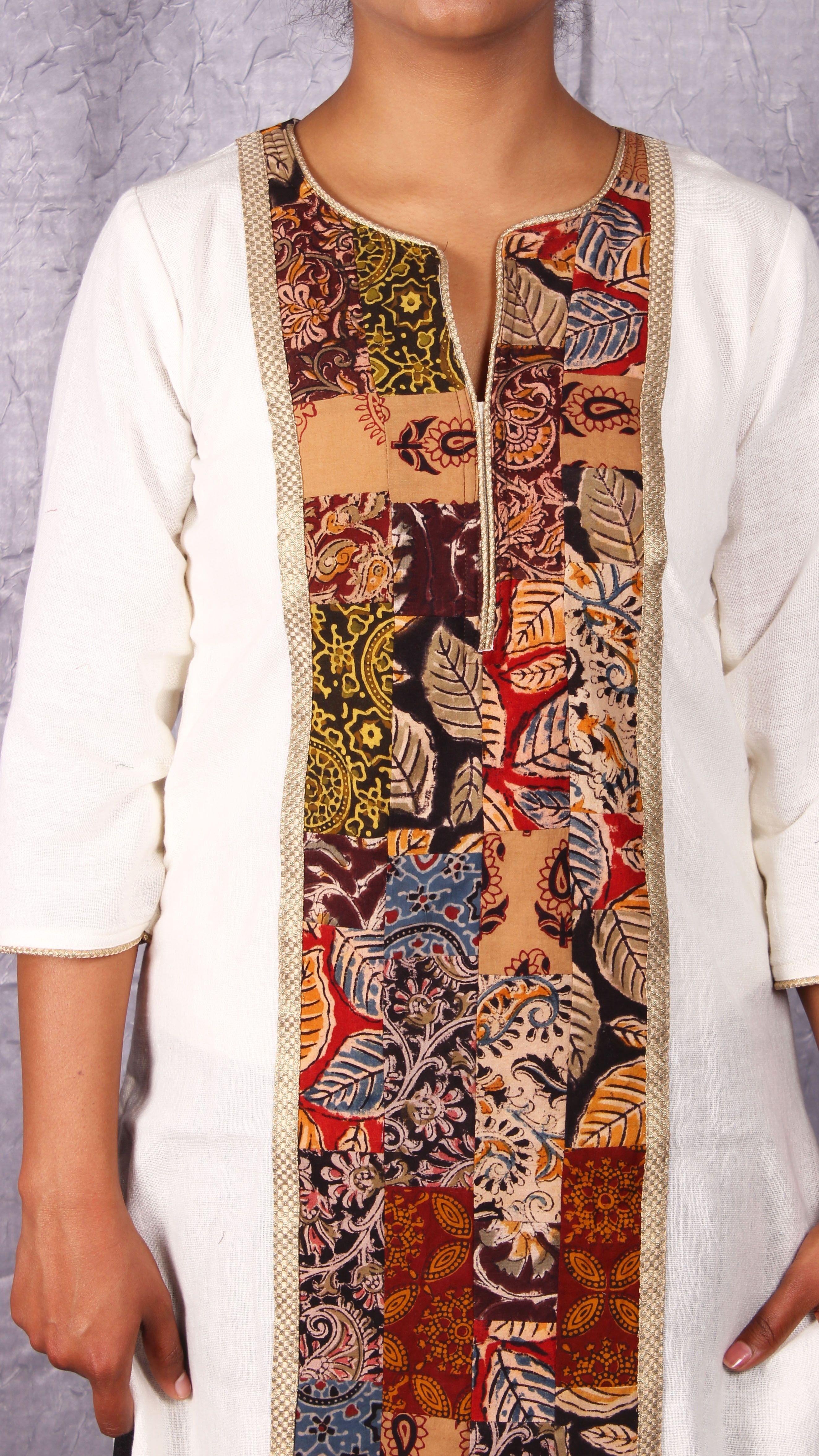 7a592d6a38c1e White kurta with kalamkari patch work yoke from www.thesaffronsaga