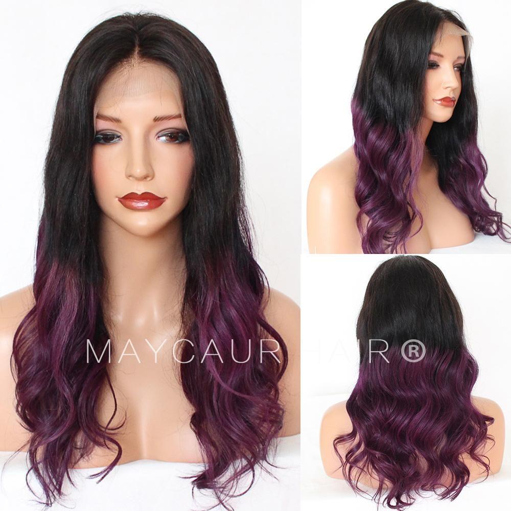 的 bPurple Ombre Brazilian human Hair Full Lace Wig Body