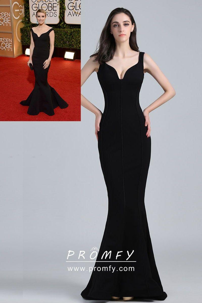 85fb02a9bc Emma Roberts celebrity inspired black spandex floor length trumpet long  elegant formal gown. Curved V neckline with wide shoulder straps.