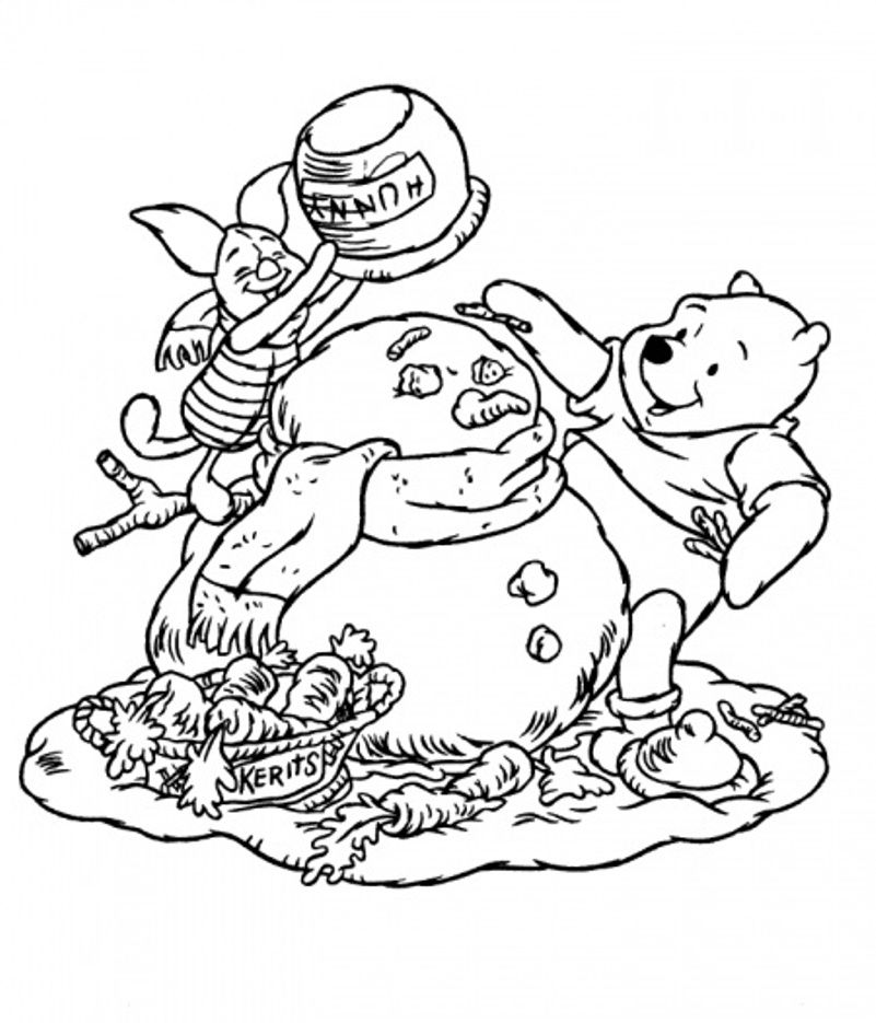 winter coloring page pooh and piglet making snowman