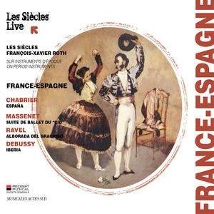 """""""France-Espagne"""" joué par LES SIÈCLES / C'est un match musical qui se joue sur le terrain de l'inspiration : l'Espagne, symbole de l'Orient, a influencé des compositeurs français de la Belle époque. Grâce à des racines familiales (Ravel), à de longs séjours (Massenet & Chabrier) ou simplement par l'imagination (Debussy), la gaîté ibérique a inspiré de magnifiques morceaux joués ici par l'ensemble """"Les Siècles""""."""