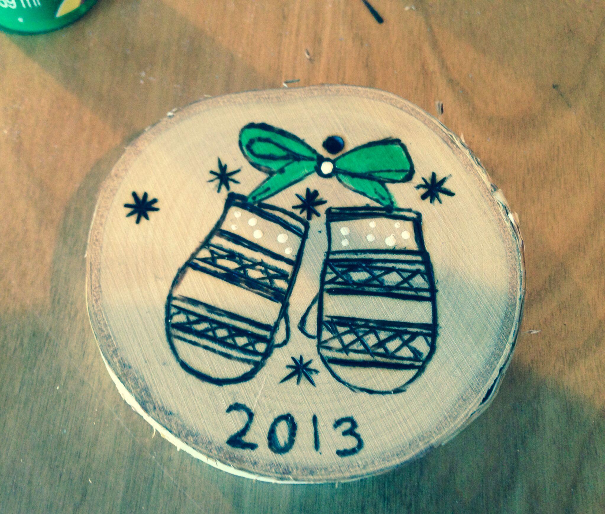 Wood burned ornament Christmas 2013. B.louie