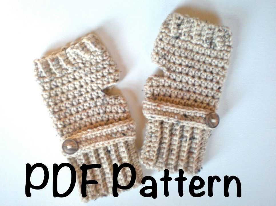 Pattern Oatmeal Button Mitts Pdf Easy Crochet Pattern Fingerless