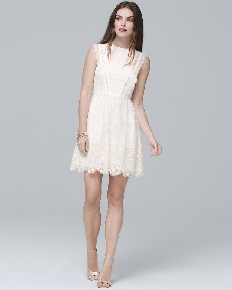 Aidan Mattox White Sleeveless Lace Fit-and-Flare Cocktail Dress ...