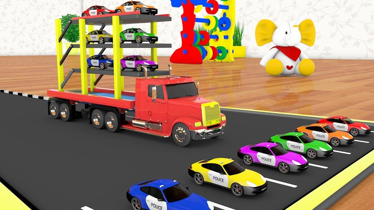 Colors for children to learning with color cars transporting giant