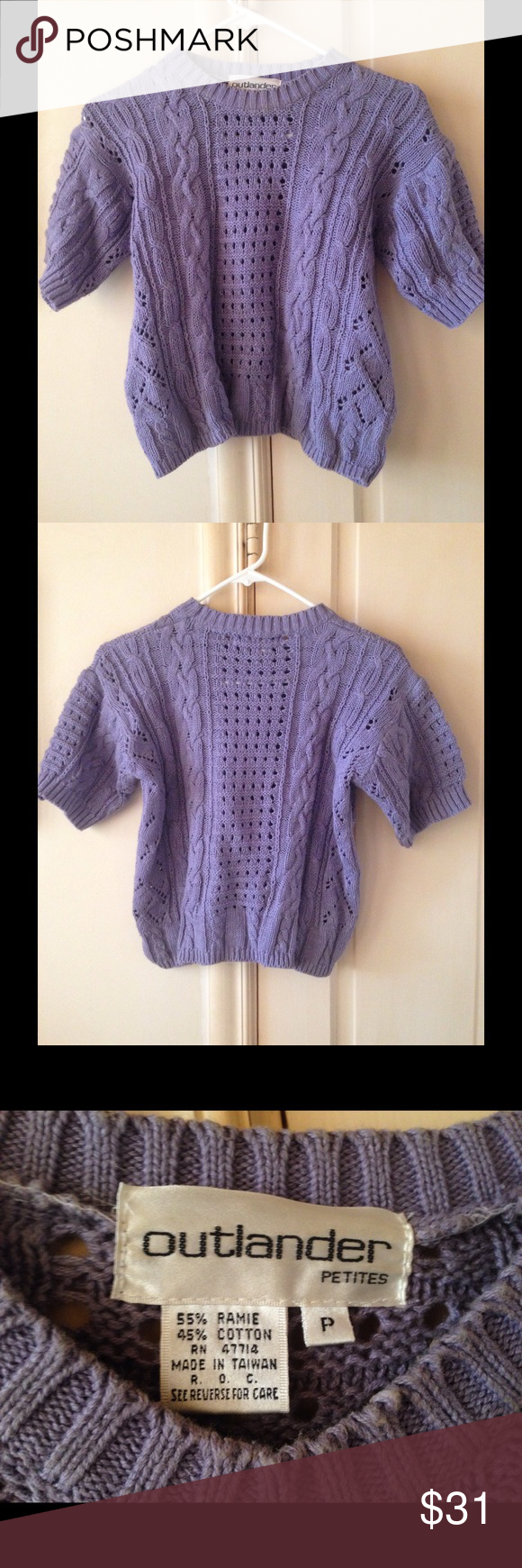Purple Short Sleeve Sweater Lavender sweater with short sleeves. Great for Year round use. Beautiful color! Size inside is P. Outlander Sweaters