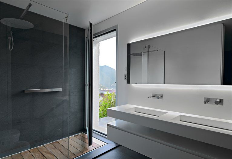 Attico Migani - Architect Victor Vasilev  #svizzera  #lavabo SLOT in #corian #antoniolupi