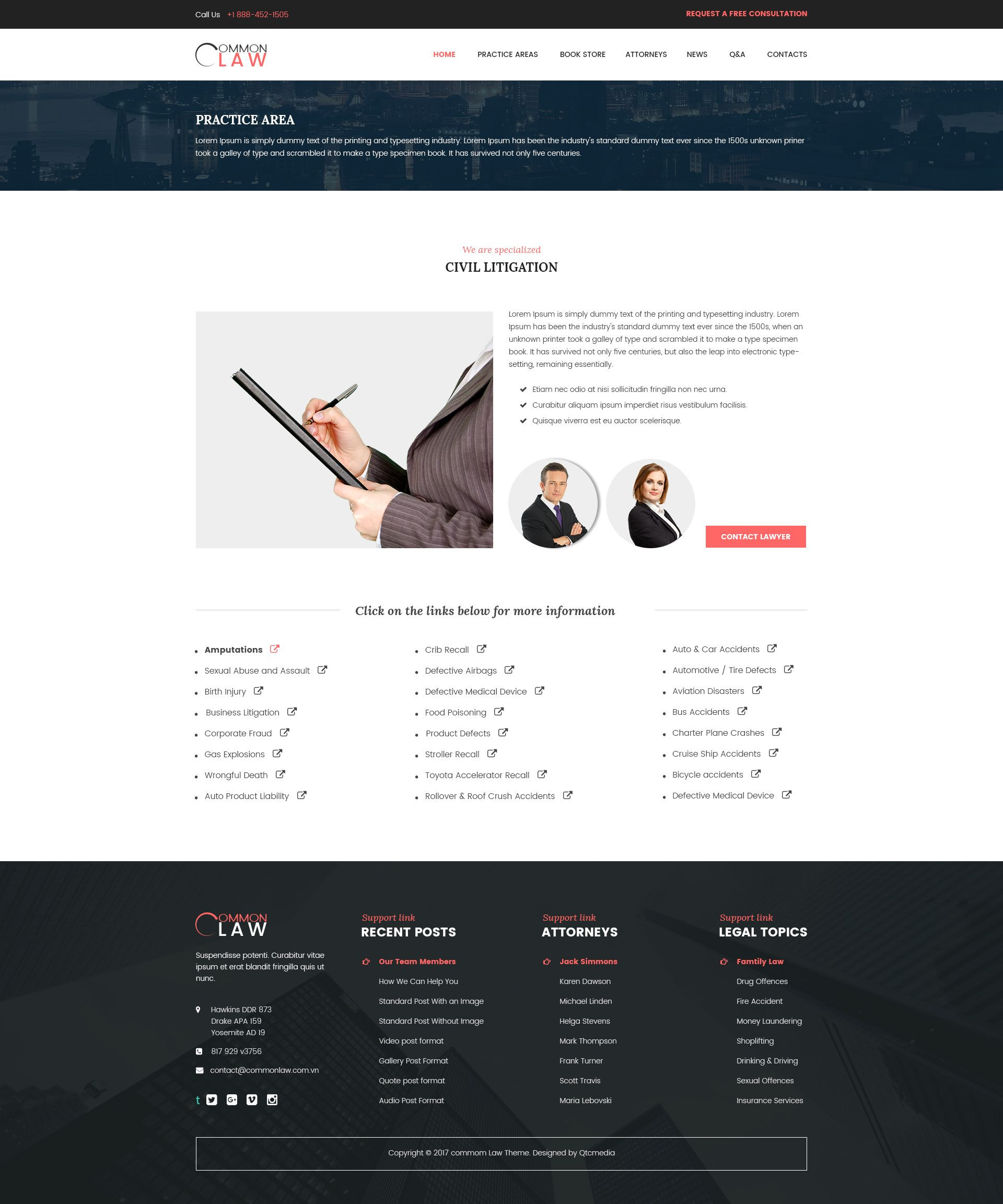 CommonLaw - Attorney & Lawyer PSD Template | Psd templates, Lawyer ...