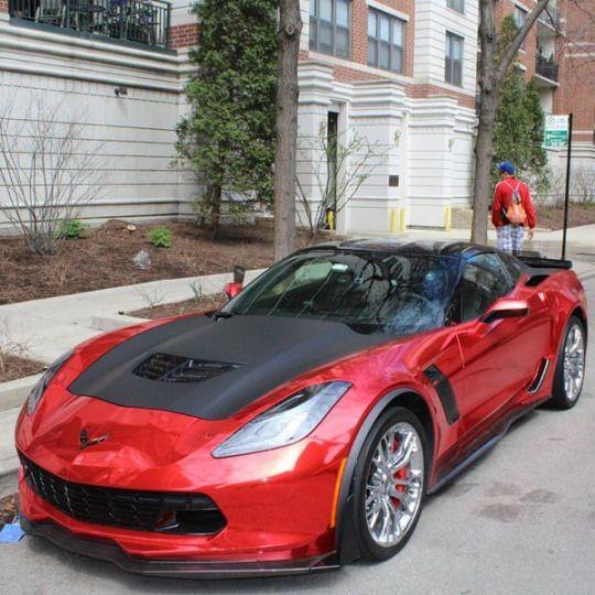 Red Chrome Wrapped Corvette Z06 Corvette Chevrolet Corvette C7 Dream Cars