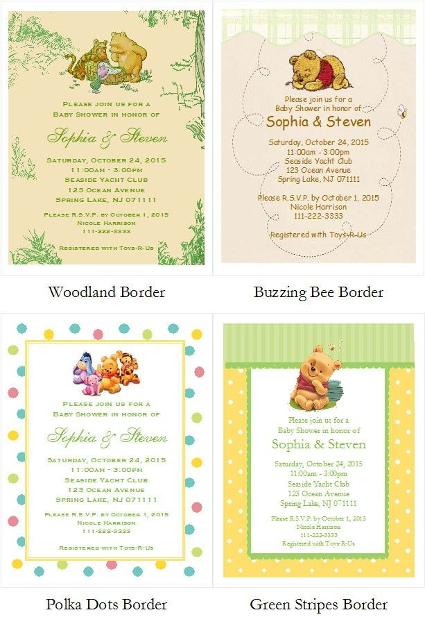 Winnie the Pooh and Friends Baby Shower Invitations (5x7) (2 Designs)