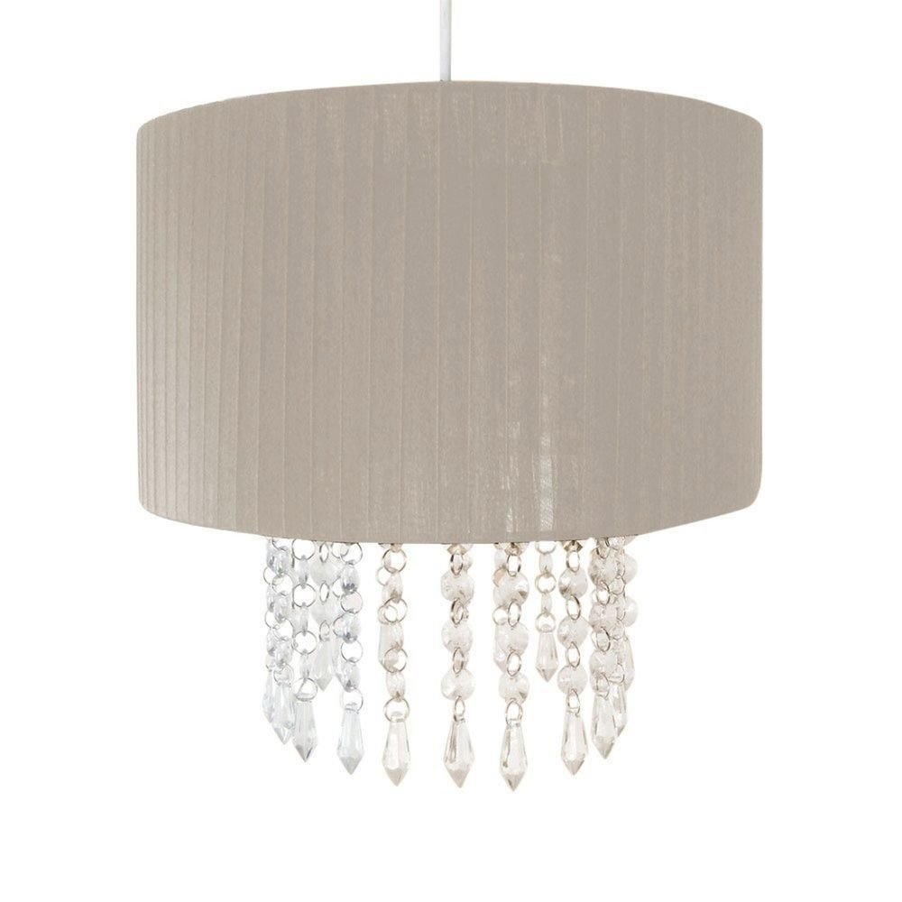 Crystal Droplet Fabric Ceiling Pendant Light Shade Fitting