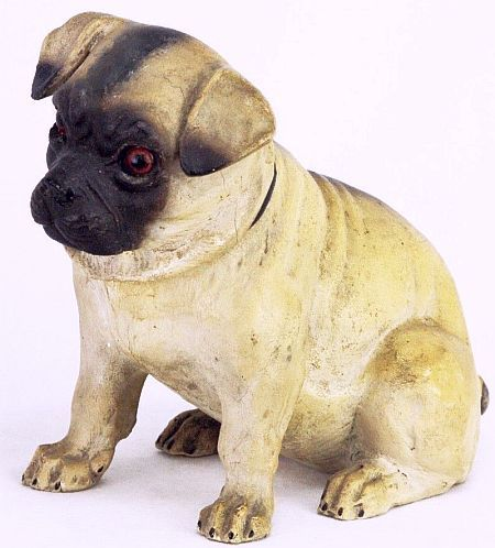 Antique German Large Paper Mache Pug Dog Candy Container Ca1910