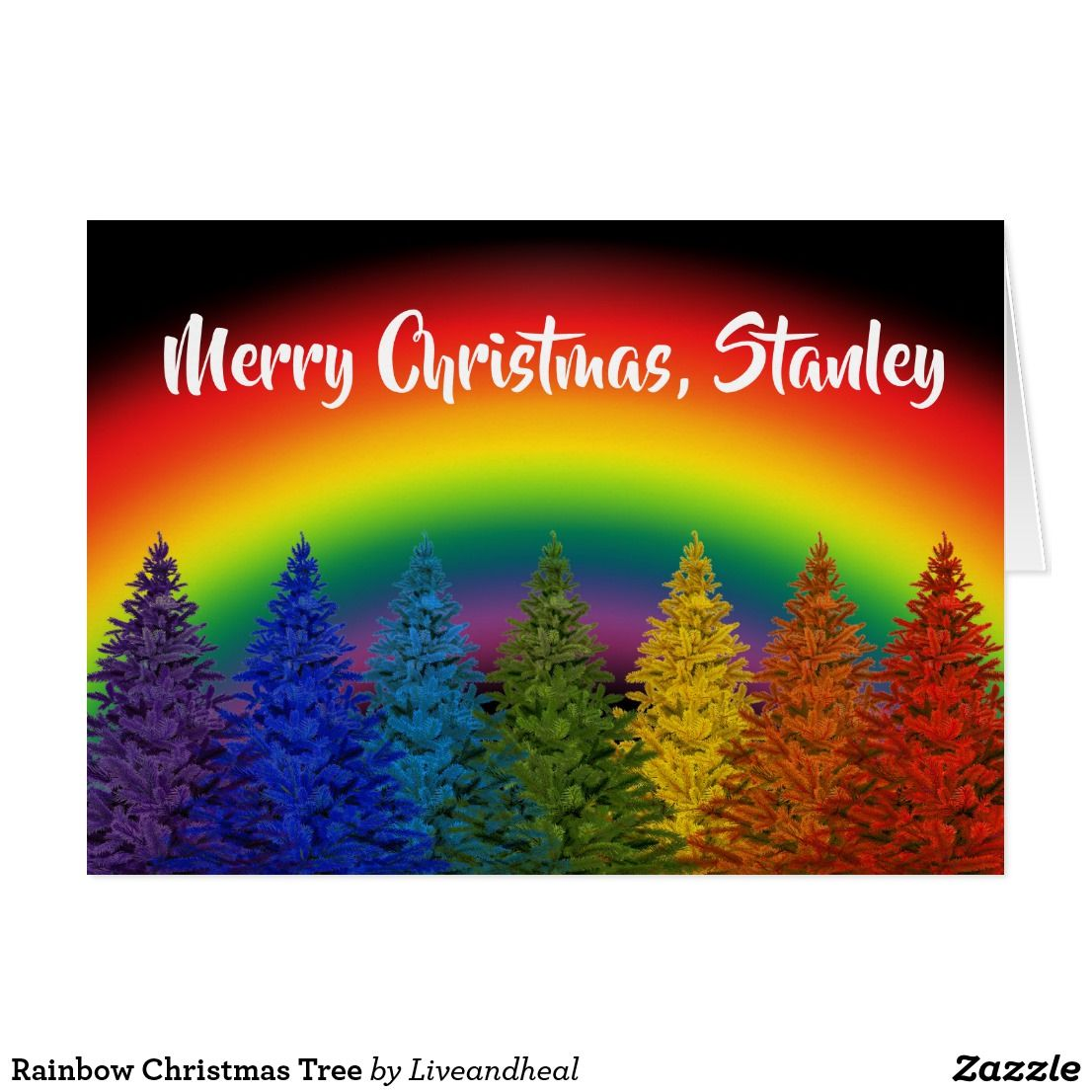 Editable rainbow christmas tree holiday card