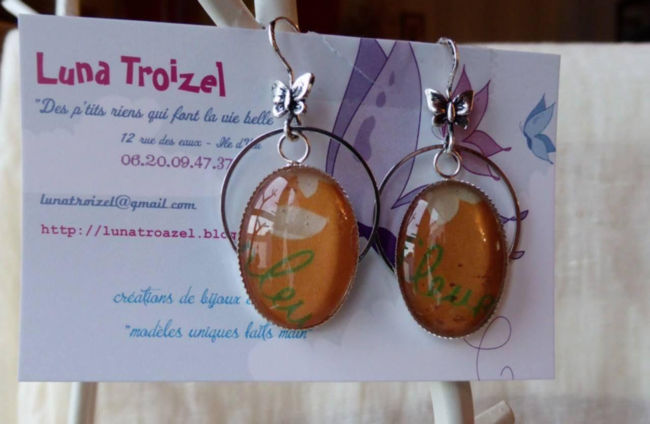 """boucles d'oreilles """"fait main"""" en vente sur mon blog http://lunatroazel.blogspot.fr/"""
