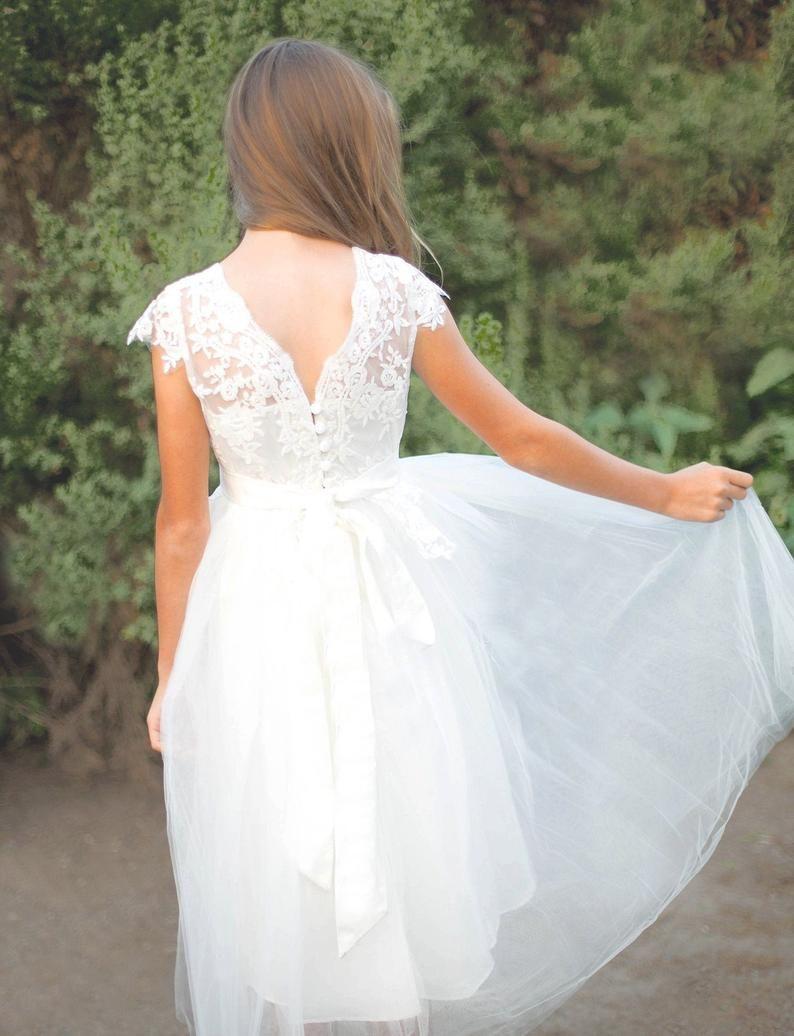 Flower girl dress, Lace Flower Girl Dress, Ivory White Lace Flower