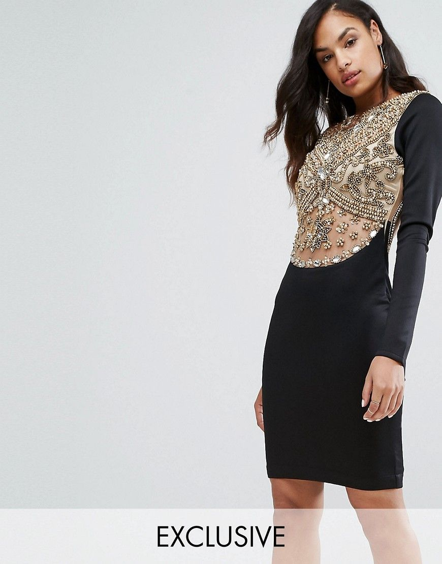 Get this A Star Is Born's midi dress now! Click for more details. Worldwide shipping. A Star is Born Heavy Embellished Knee Length Dress with Long Sleeves - Black: Dress by A Star Is Born, Lightweight woven fabric, Fully lined, Embellished front, Sheer inserts, Long sleeves, Open back, Close-cut bodycon fit, Dry clean, 100% Nylon, Our model wears a UK 8/EU 36/US 4 and is 175cm/5'9 tall, Exclusive to ASOS. East meets West with our exclusive evening range, A Star Is Born. We�re talking party…