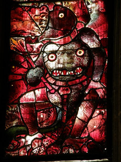 A Demon Fairford Church Stained Glass Oldest Medieval Windows In England