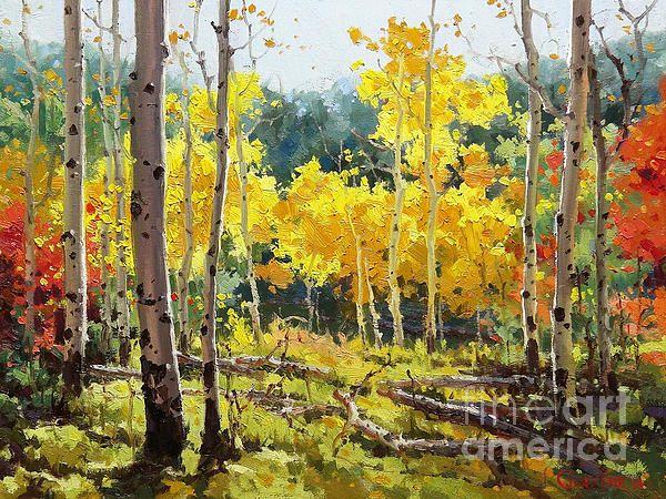 Backlit Aspen Grove By Gary Kim Aspen Art Landscape Paintings Tree Painting