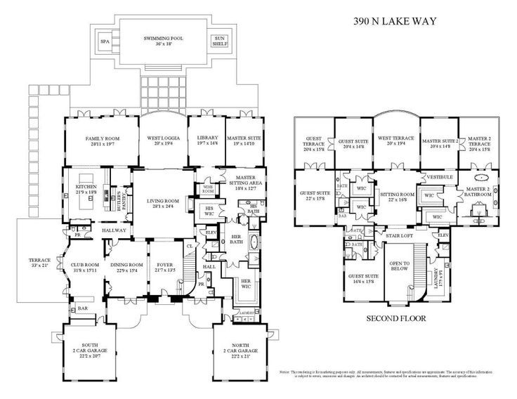 12 655 Square Foot Palm Beach Waterfront Mansion Floor Plans For Both Levels Address 390 N Lake Way Mansion Floor Plan Mansion Plans Beach House Plans