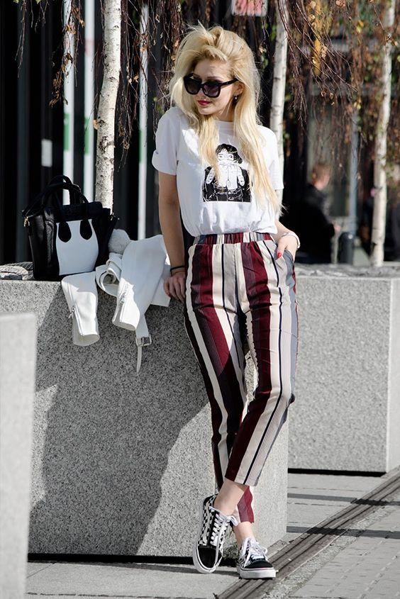 7881b4cf5bc Mixed Stripe Cropped Pants Tendencias Vintage