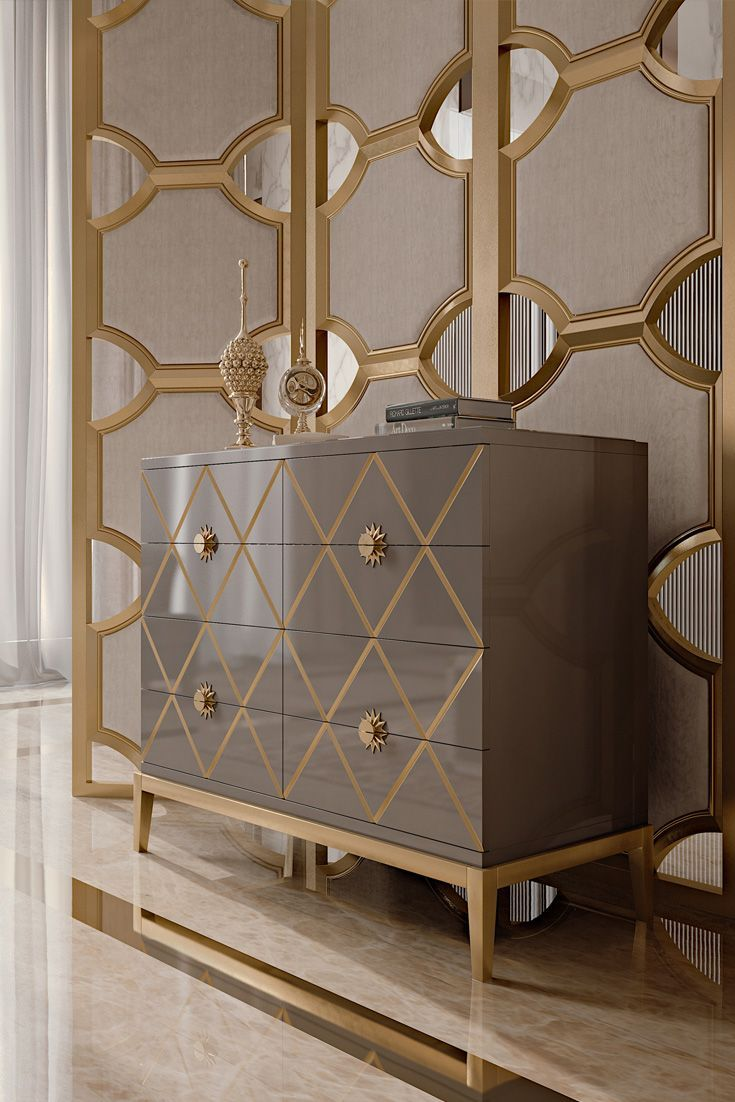 Modern Italian Sliding Etched Glass Door: Italian Designer Lacquered Art Deco Inspired Chest Of