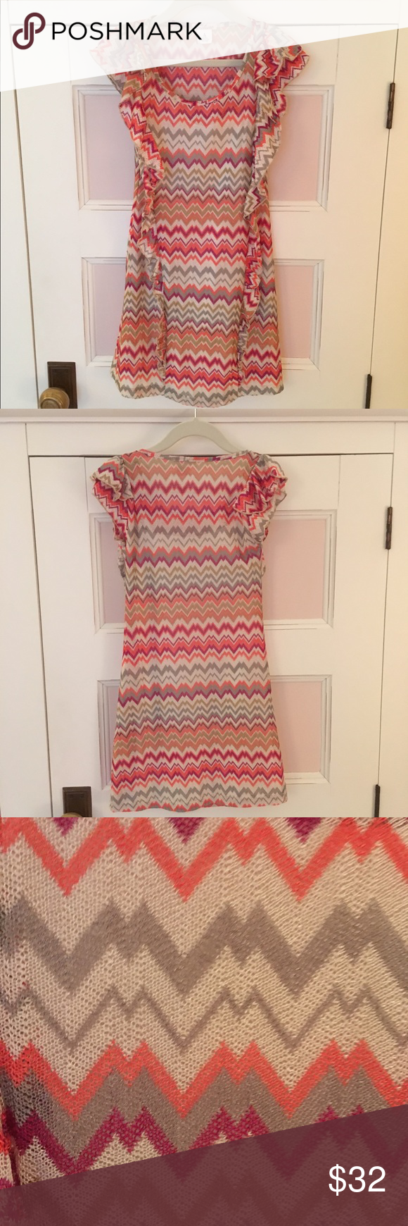 ❁ Sally Miller Couture Zig-Zag, Striped Dress ❁ Gently used summer dress! Two layers, fun and colorful pattern and ruffles along the sides! Sally Miller Dresses Formal #sallymiller