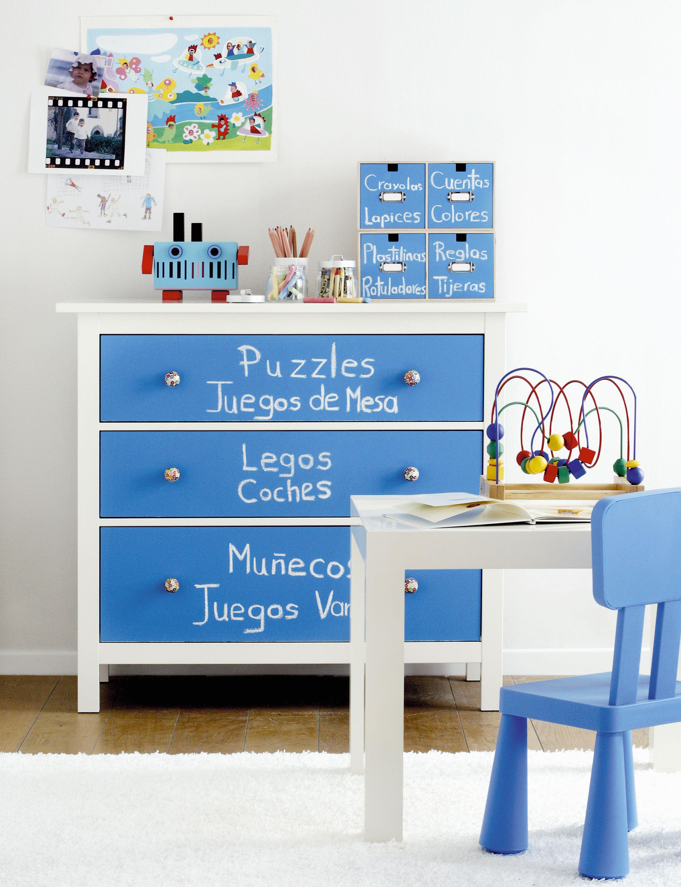 Comoda Pintada Con Pizarra Azul Gulliver Www Cuartocolor Es  # Muebles Pizarra