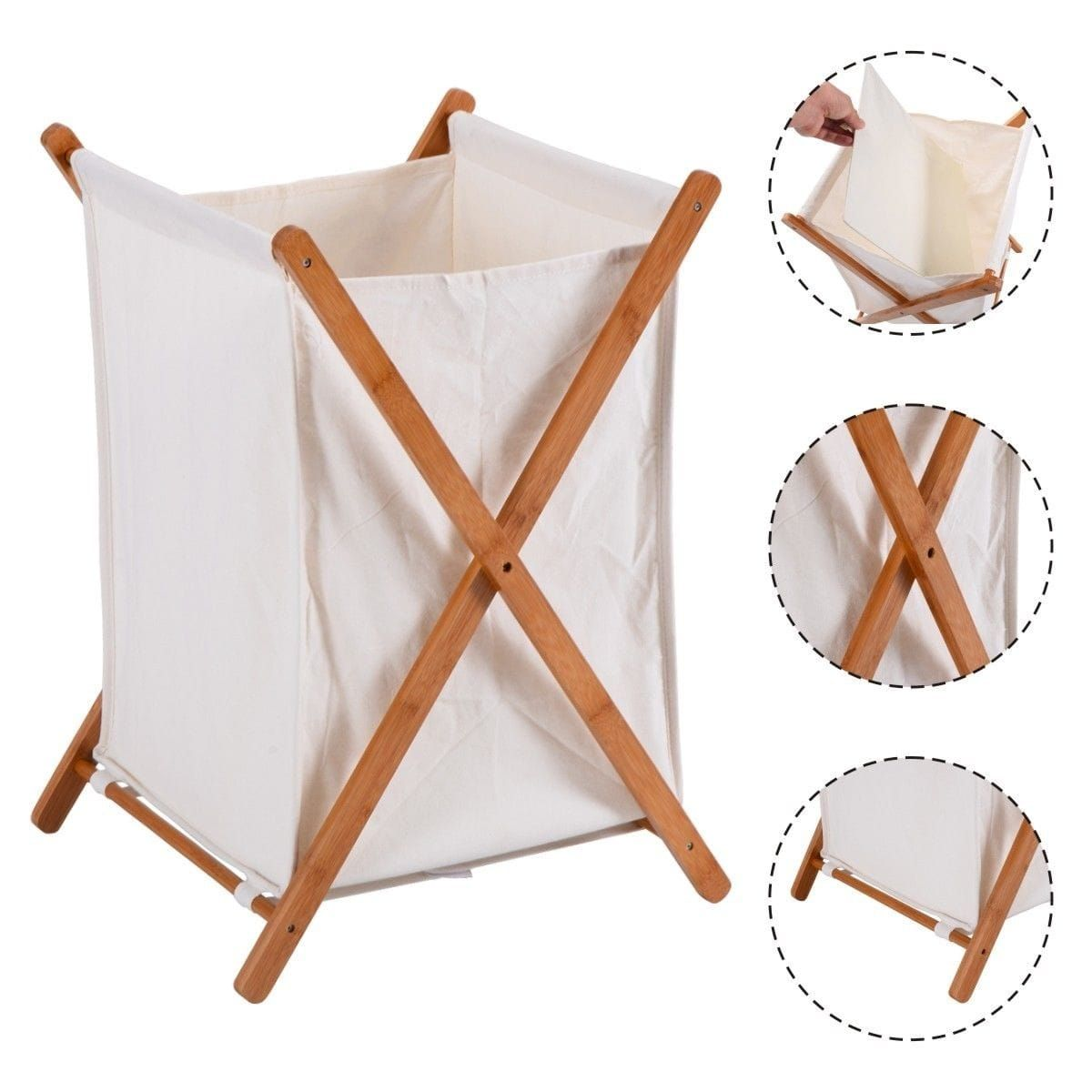Costway Household Folding Bamboo X Frame Laundry Hamper Clothes